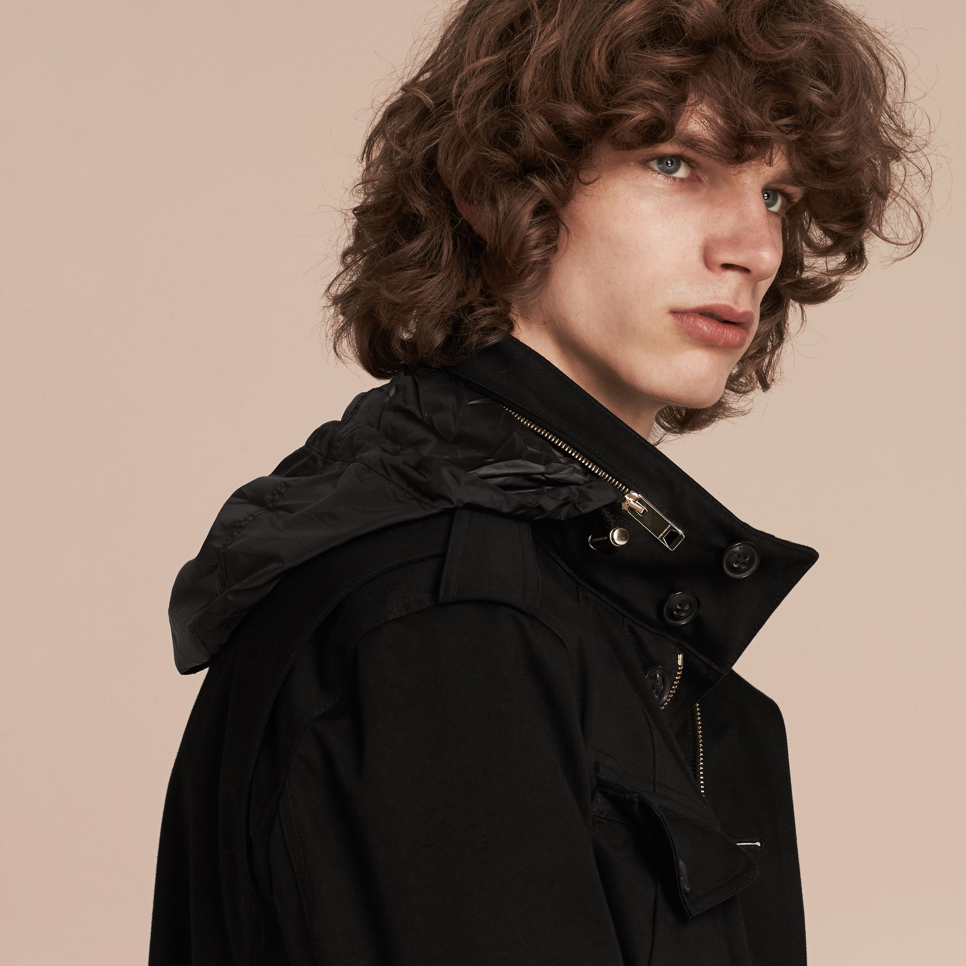 Black Bonded Cotton Field Jacket with Removable Warmer - gallery image 5