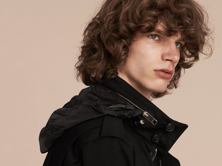 Black Bonded Cotton Field Jacket with Removable Warmer - cell image 4
