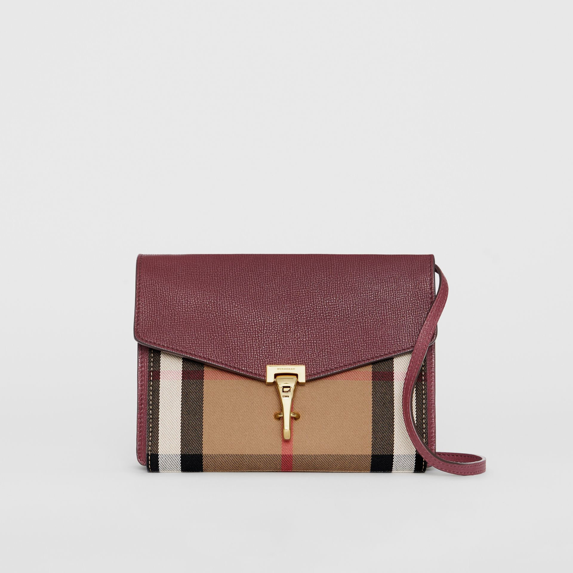 Small Leather and House Check Crossbody Bag in Mahogany Red - Women | Burberry Singapore - gallery image 0