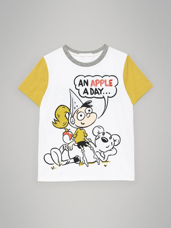 Cartoon Print Cotton T-shirt in White