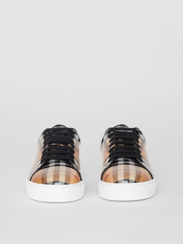 Sneaker in pelle e motivo Vintage check (Giallo Antico) - Donna | Burberry - cell image 3