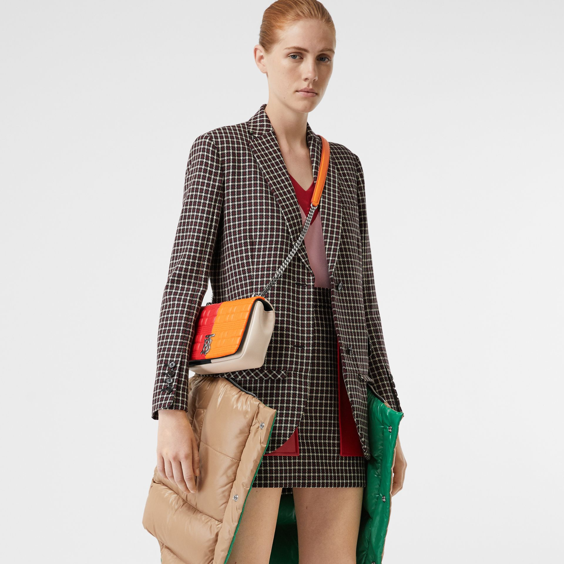 Small Quilted Check Colour Block Lambskin Lola Bag in Bright Red/orange - Women | Burberry - gallery image 8