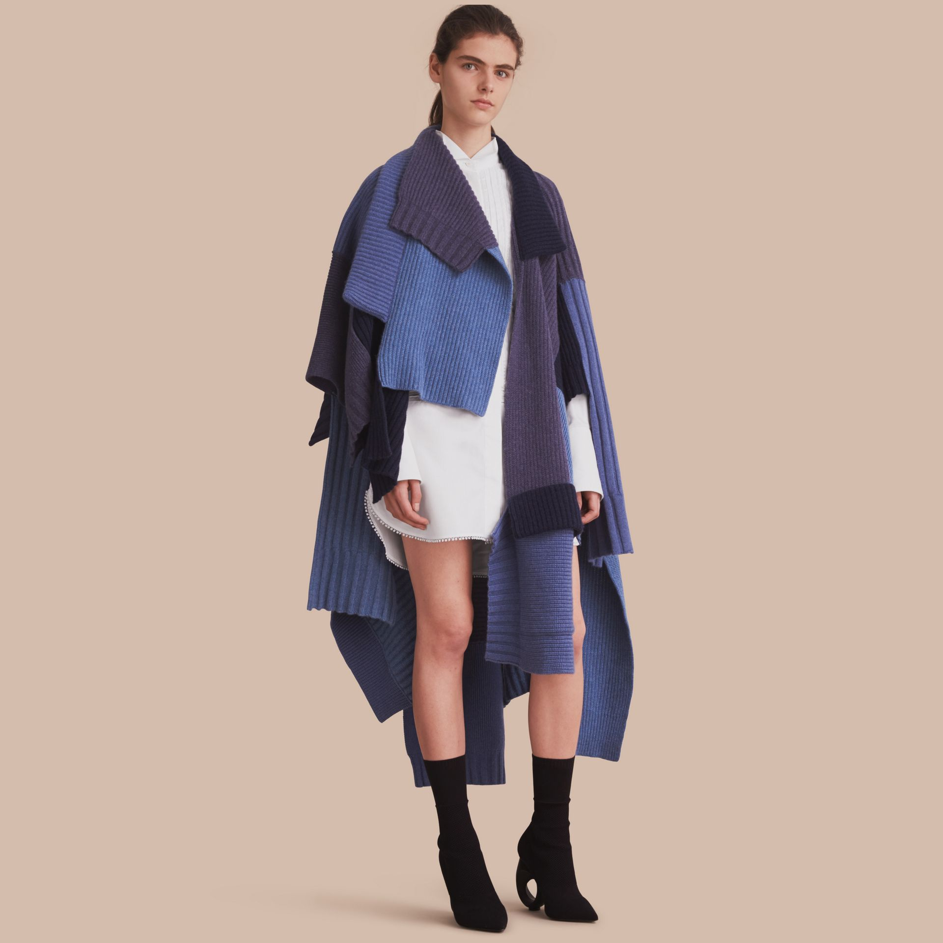Wool Cashmere Patchwork Poncho in Carbon Blue - Women | Burberry Singapore - gallery image 1