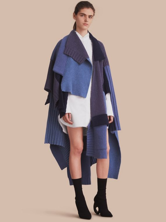 Wool Cashmere Patchwork Poncho in Carbon Blue