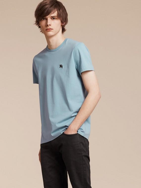 Camiseta en suave algodón de tacto líquido Azul Pálido