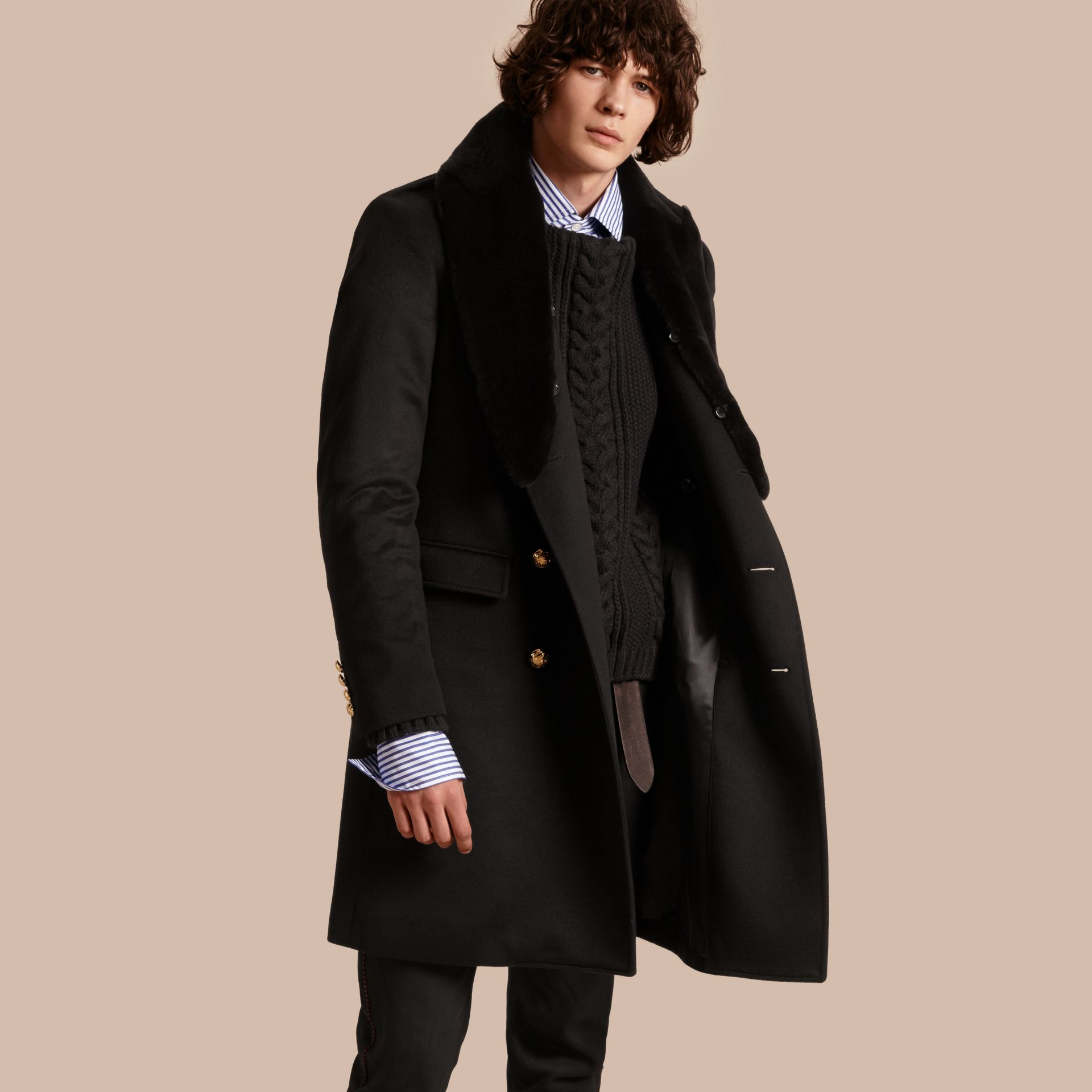 Black Regimental Cashmere Coat with Detachable Mink Collar - gallery image 1
