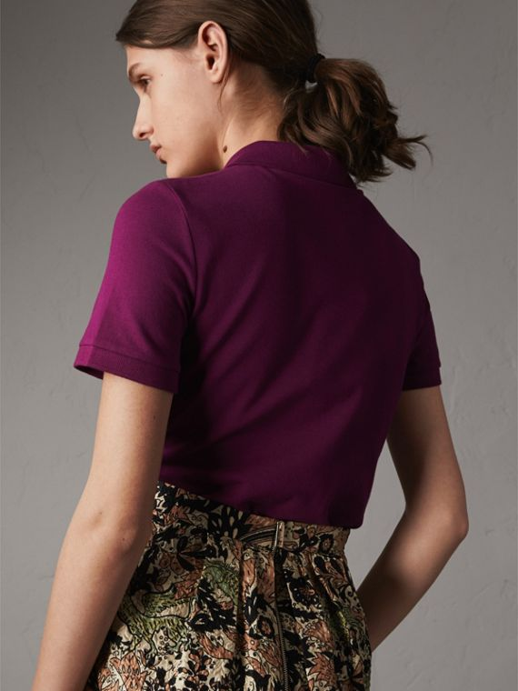 Beasts Motif Stretch Cotton Piqué Polo Shirt in Magenta Pink - Women | Burberry Singapore - cell image 2