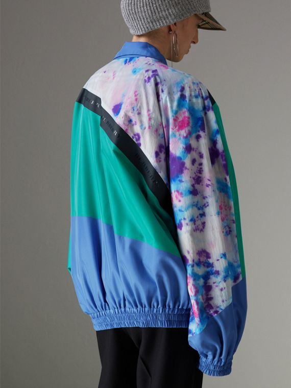 Tie-dye Silk Shell Suit Jacket in Turquoise - Women | Burberry - cell image 2