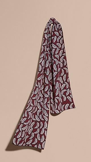 Leaf Print Silk Scarf