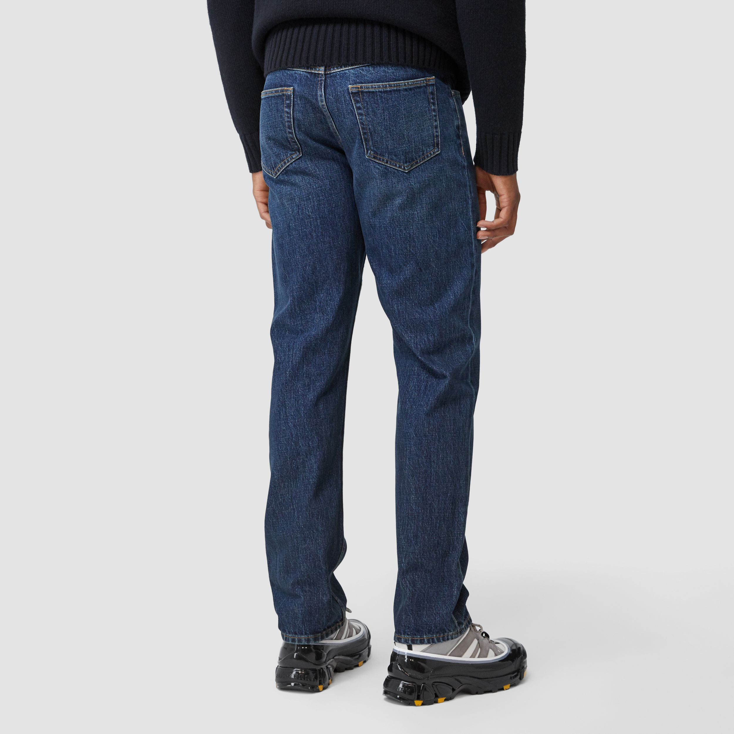 Straight Fit Washed Jeans in Dark Indigo - Men | Burberry - 3