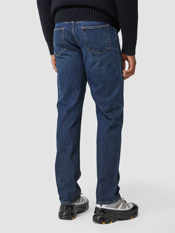 Straight Fit Washed Jeans in Dark Indigo - Men | Burberry - cell image 2