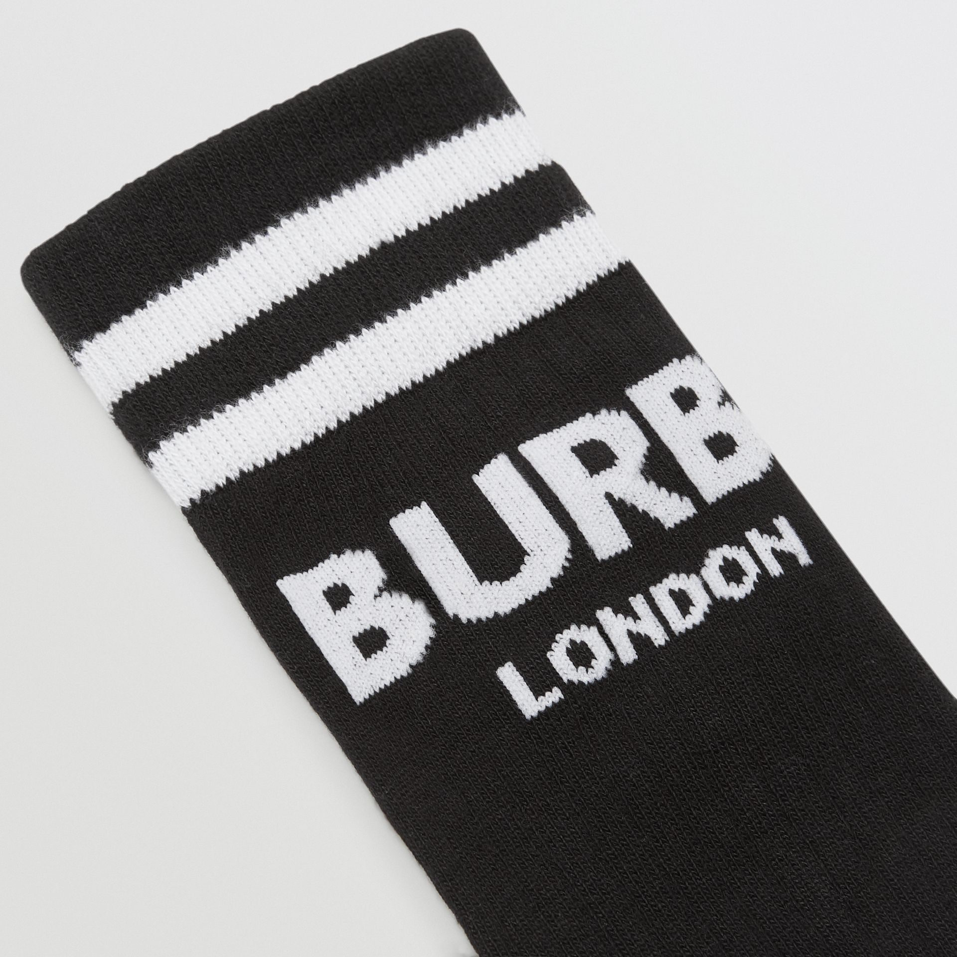 Logo Cotton Blend Socks in Black/white - Children | Burberry - gallery image 1