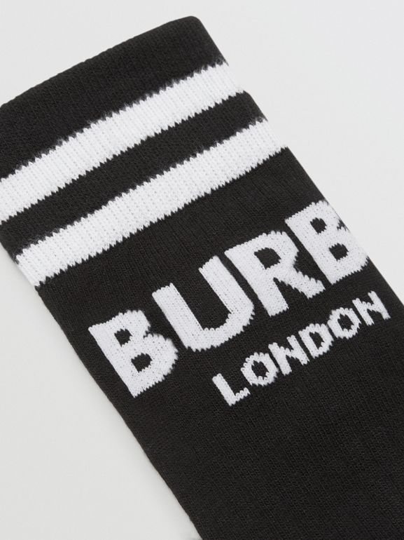 Logo Cotton Blend Socks in Black/white - Children | Burberry - cell image 1