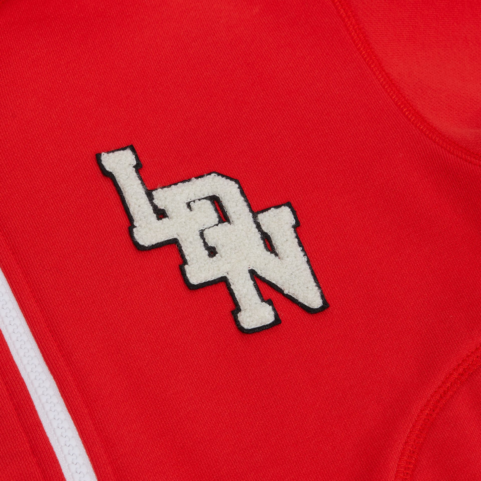 Logo Graphic Cotton Hooded Top in Bright Red | Burberry - gallery image 1