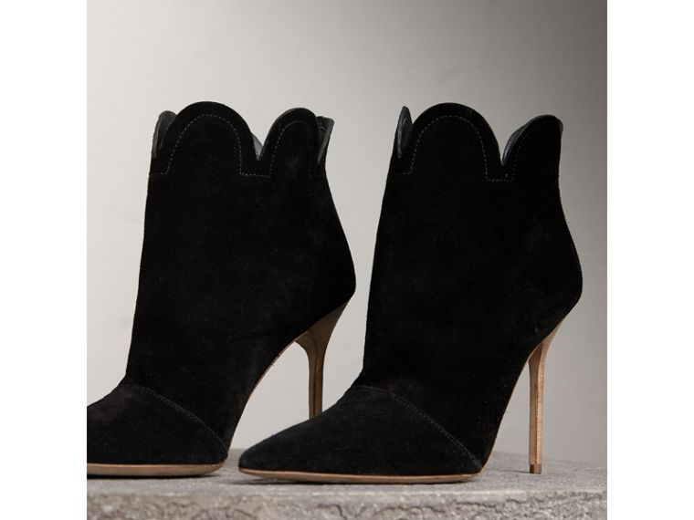 Scalloped Suede Ankle Boots in Black - Women | Burberry United States - cell image 4