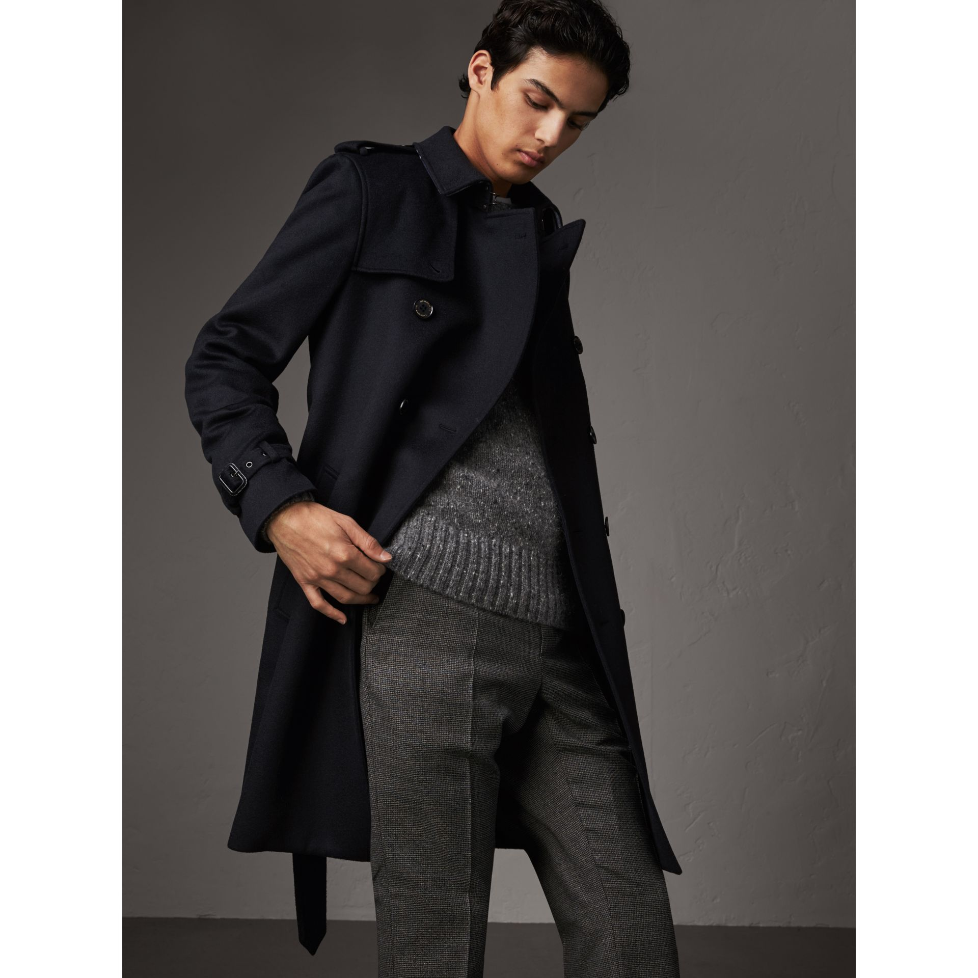 Cashmere Trench Coat in Navy - Men | Burberry - gallery image 7