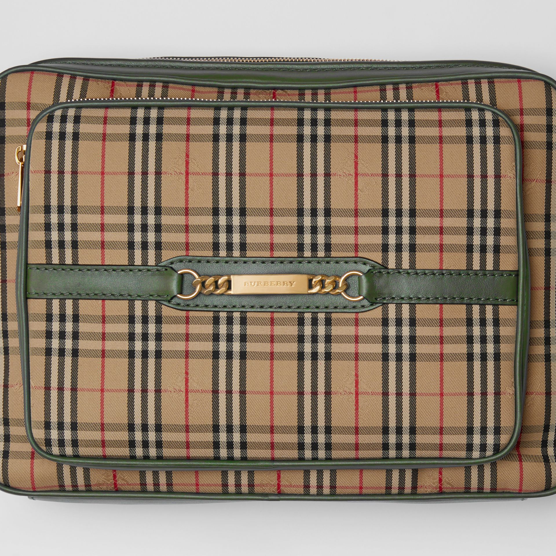The Large 1983 Check Link Camera Bag in Dark Forest Green | Burberry - gallery image 1