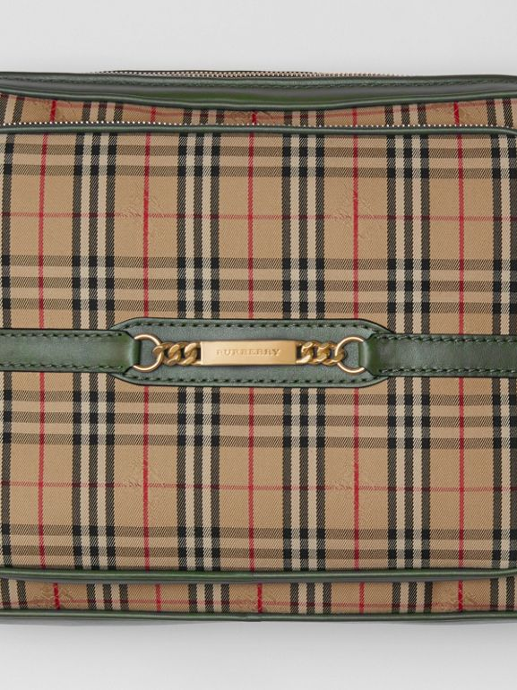 The Large 1983 Check Link Camera Bag in Dark Forest Green | Burberry - cell image 1
