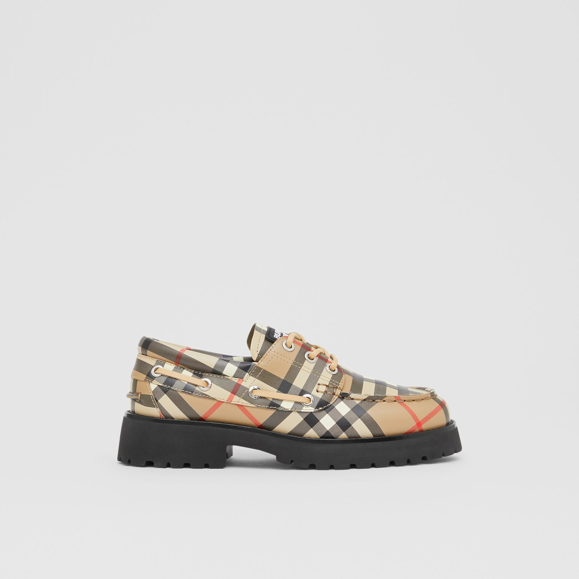 Vintage Check Leather Boat Shoes in Archive Beige - Children | Burberry - gallery image 3