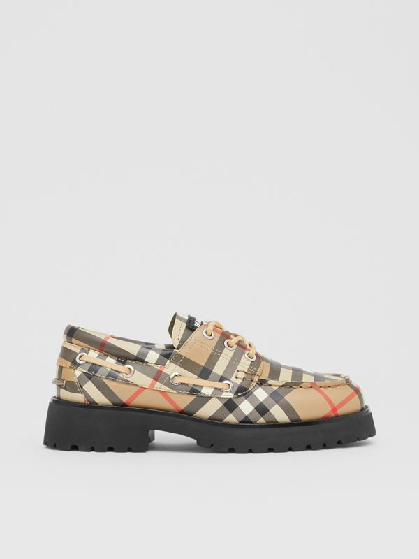 Vintage Check Leather Boat Shoes in Archive Beige - Children | Burberry - cell image 3