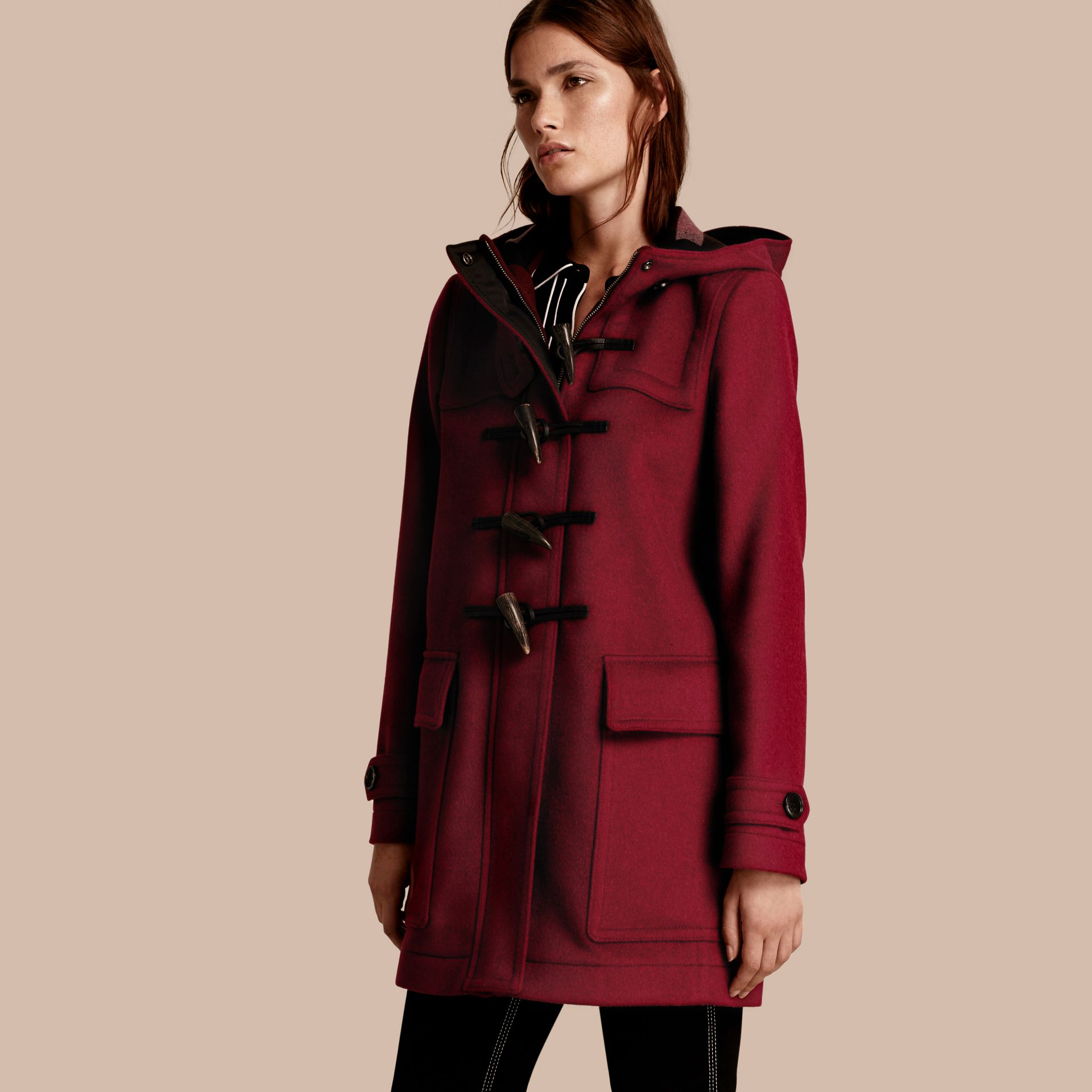 Dark plum Wool Duffle Coat - gallery image 1