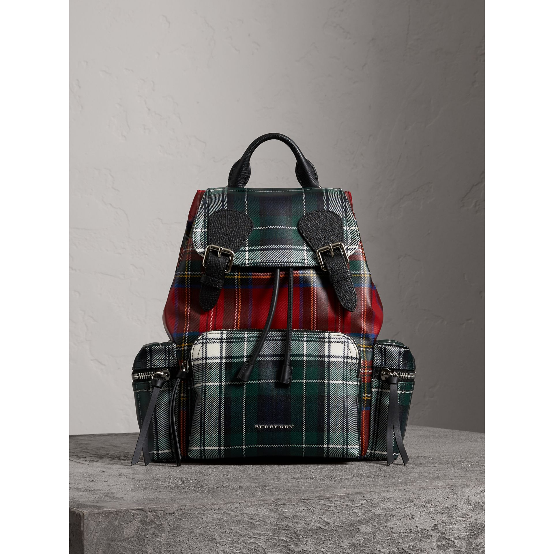 The Medium Rucksack in Laminated Tartan in Military Red - Women | Burberry - gallery image 5
