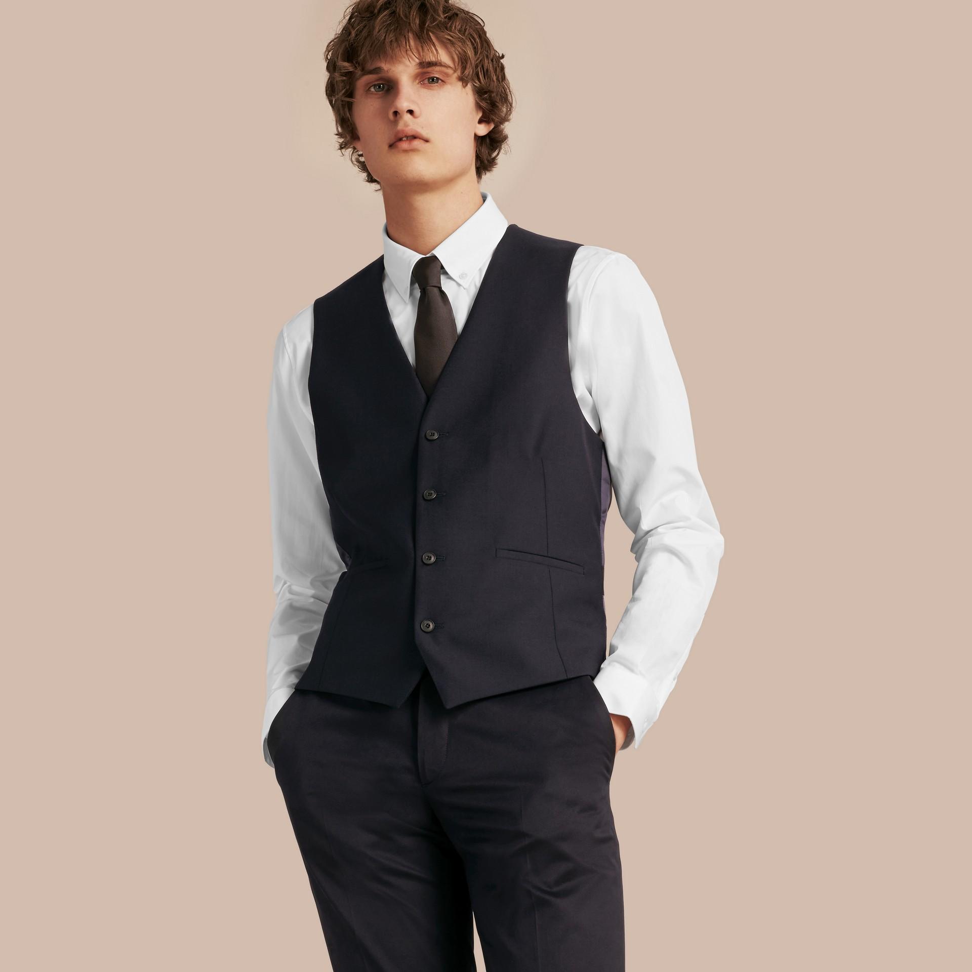 Navy Slim Fit Wool Waistcoat - gallery image 4