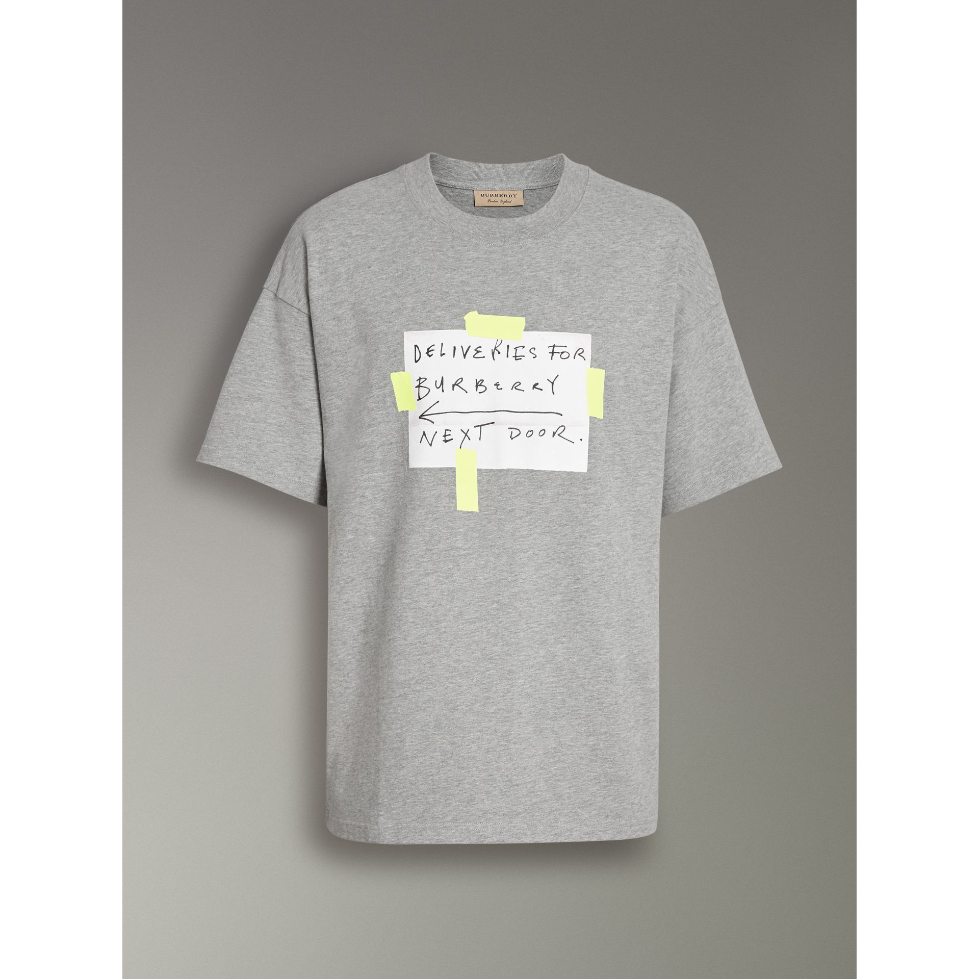 Sign Print Cotton T-shirt in Pale Grey Melange - Men | Burberry - gallery image 3