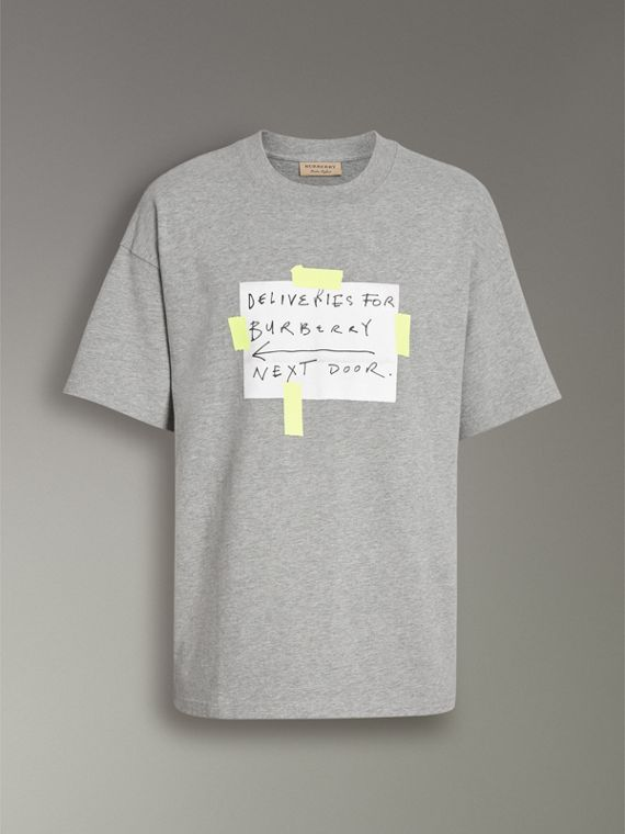 Sign Print Cotton T-shirt in Pale Grey Melange - Men | Burberry - cell image 3