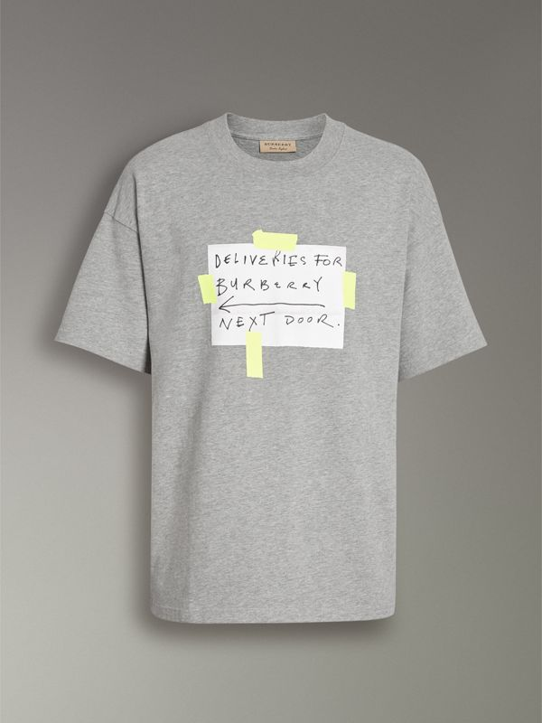 Sign Print Cotton T-shirt in Pale Grey Melange - Men | Burberry United Kingdom - cell image 3