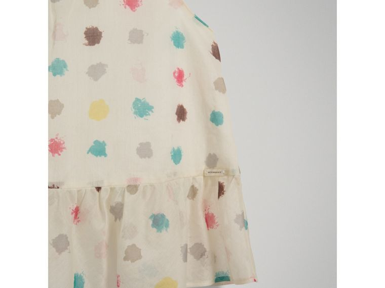 Top in cotone con stampa a pois e arricciature (Bianco Naturale) - Bambina | Burberry - cell image 4