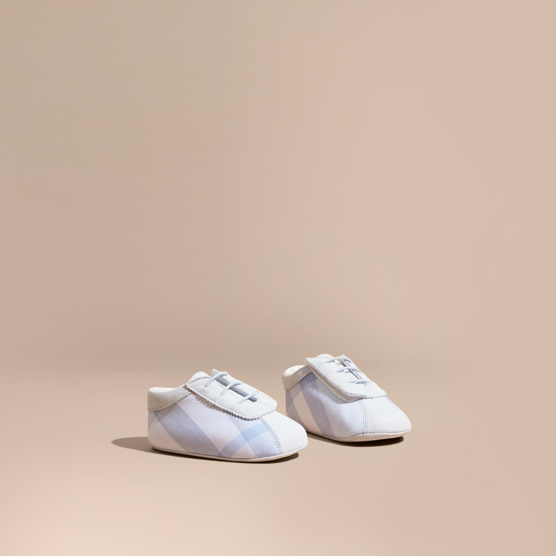 Check Cotton and Leather Slip-on Booties in Ice Blue - Children | Burberry - gallery image 1