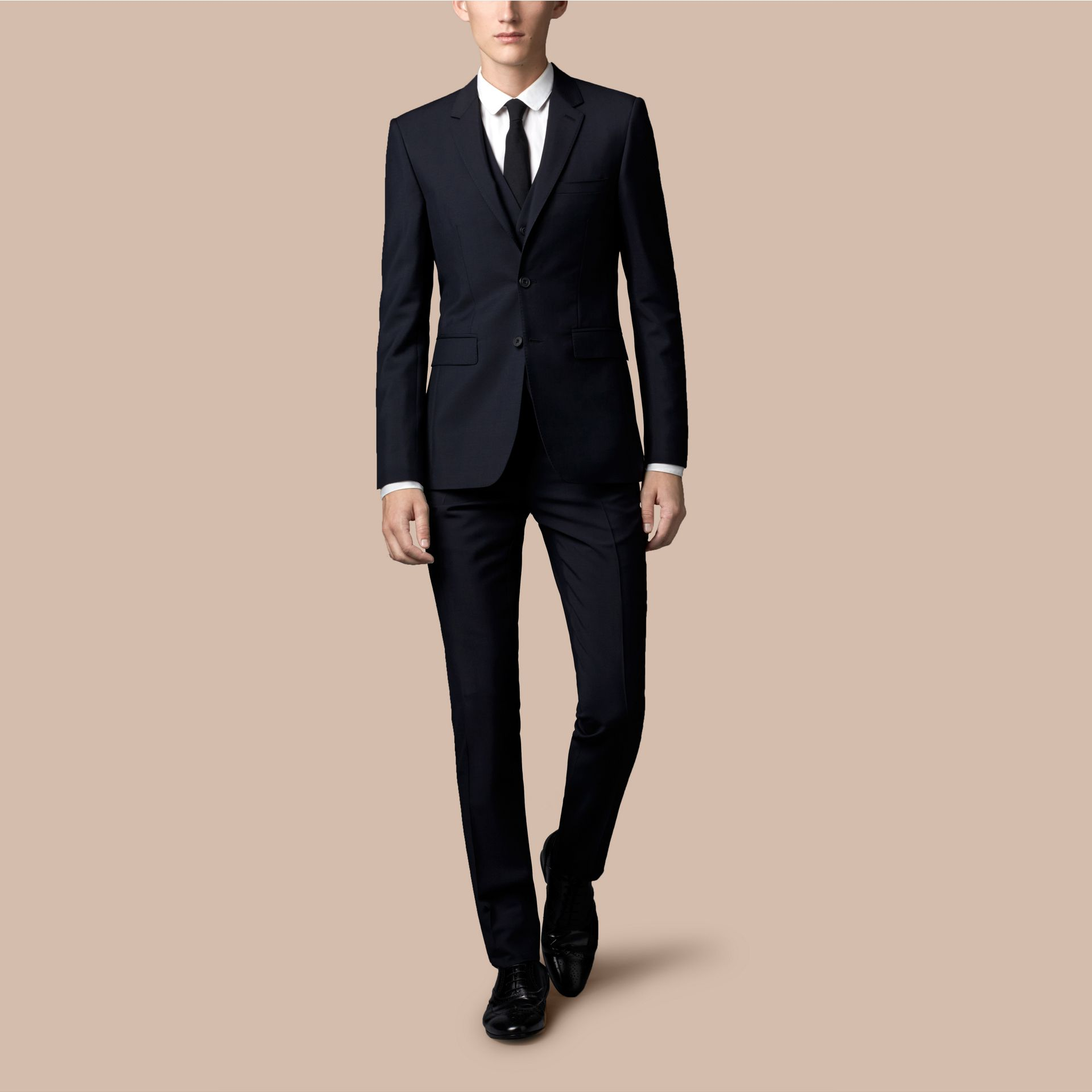 True navy Slim Fit Wool Mohair Part-canvas Three-Piece Suit - gallery image 1
