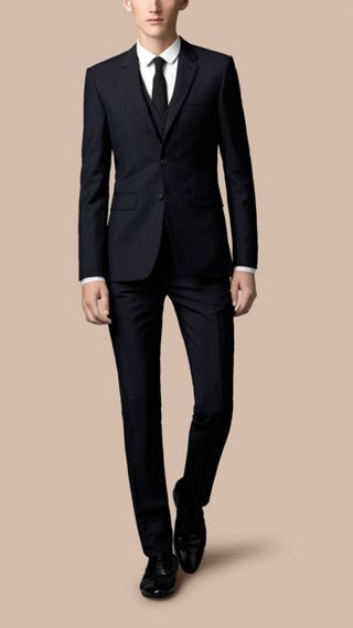 Slim Fit Wool Mohair Part-canvas Three-Piece Suit