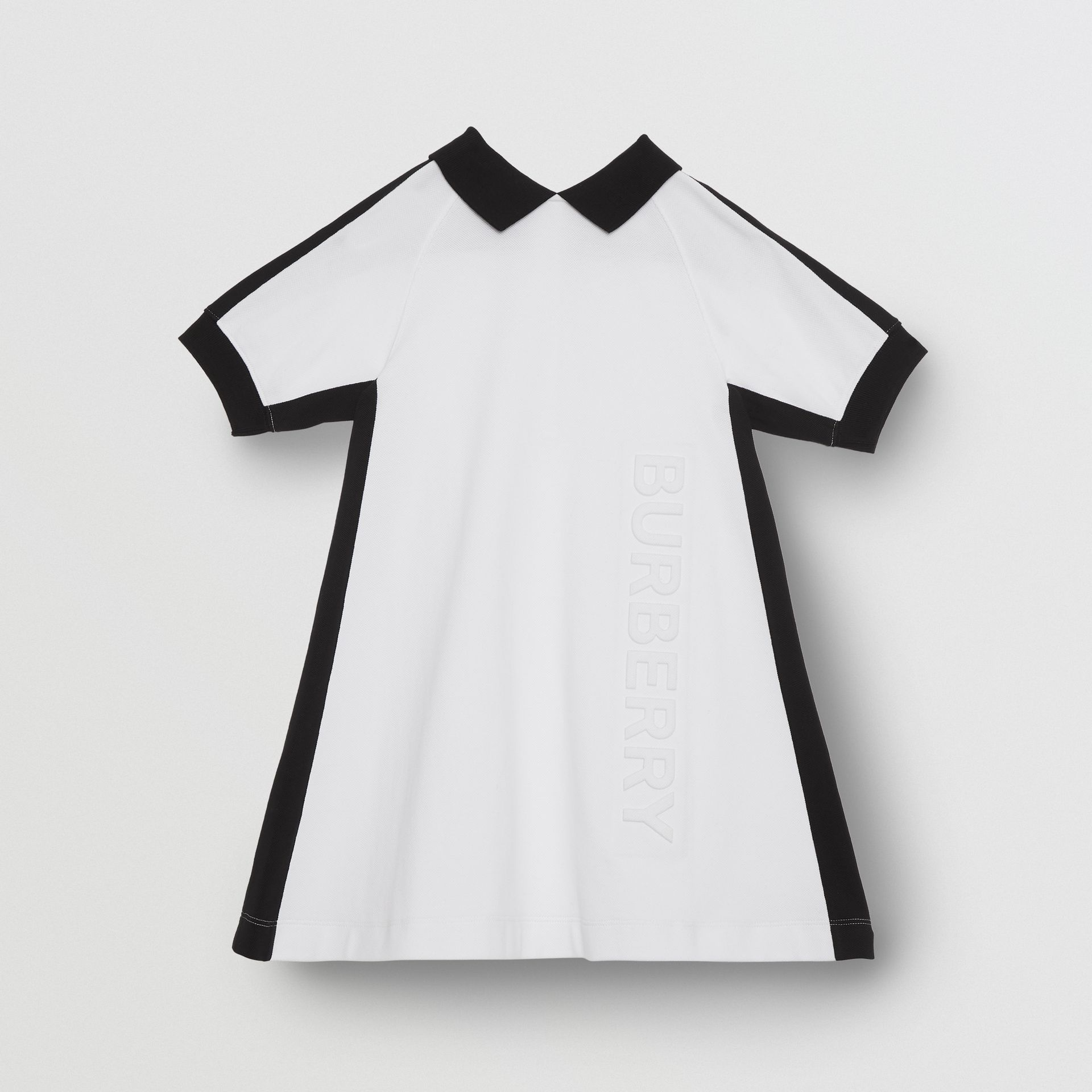 Embossed Logo Cotton Piqué Polo Dress in White | Burberry - gallery image 0