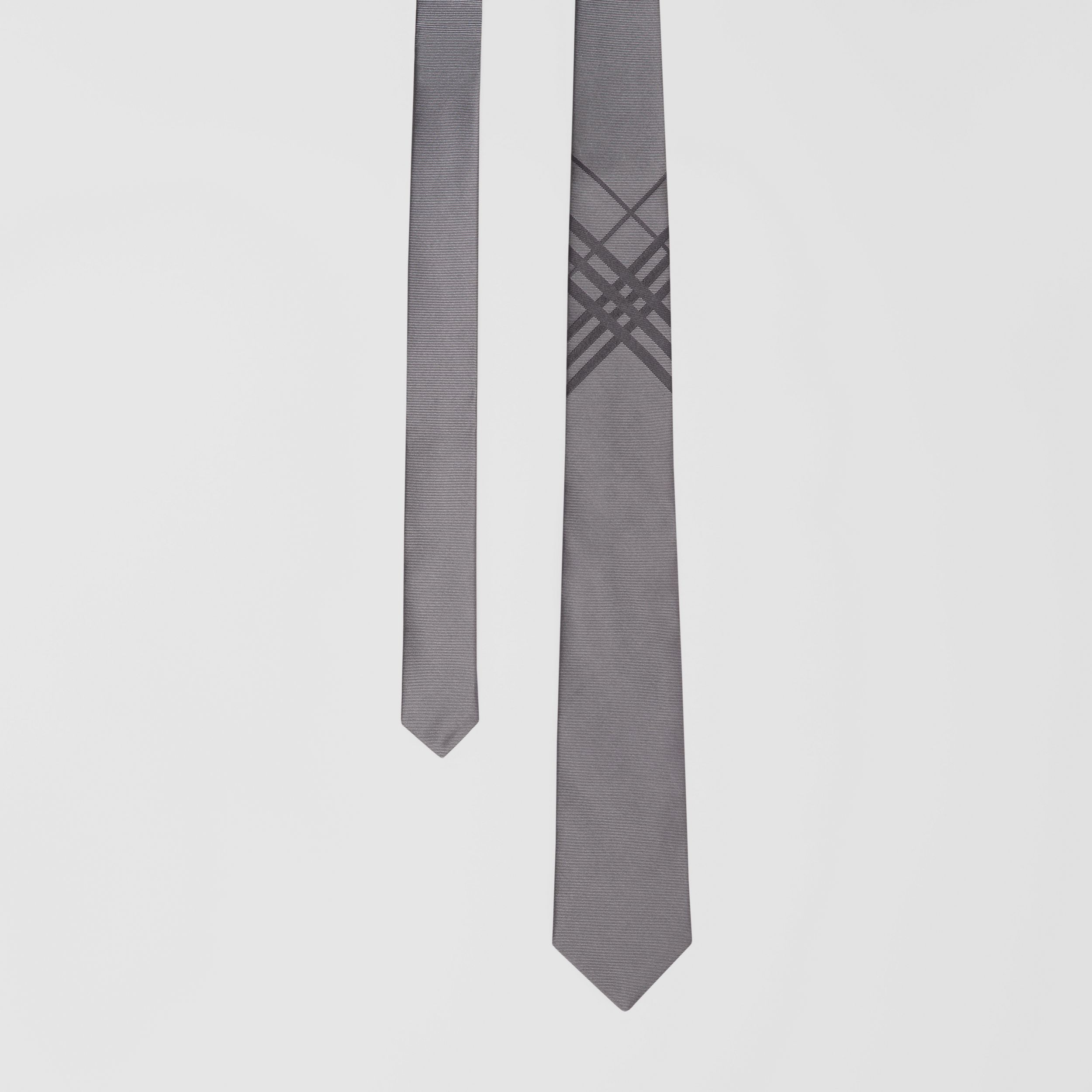 Classic Cut Check Silk Jacquard Tie in Storm Grey - Men | Burberry - 1