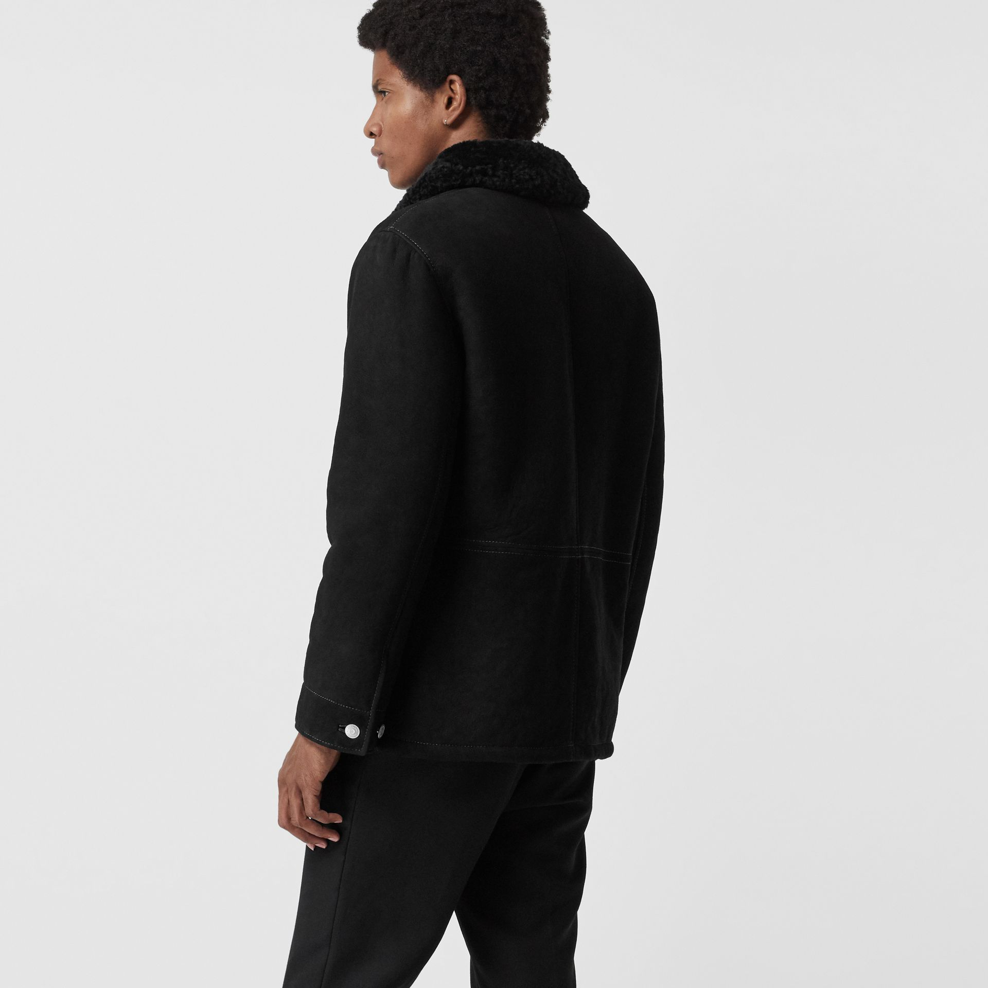 Leather Detail Shearling Workwear Jacket in Black - Men | Burberry United States - gallery image 2