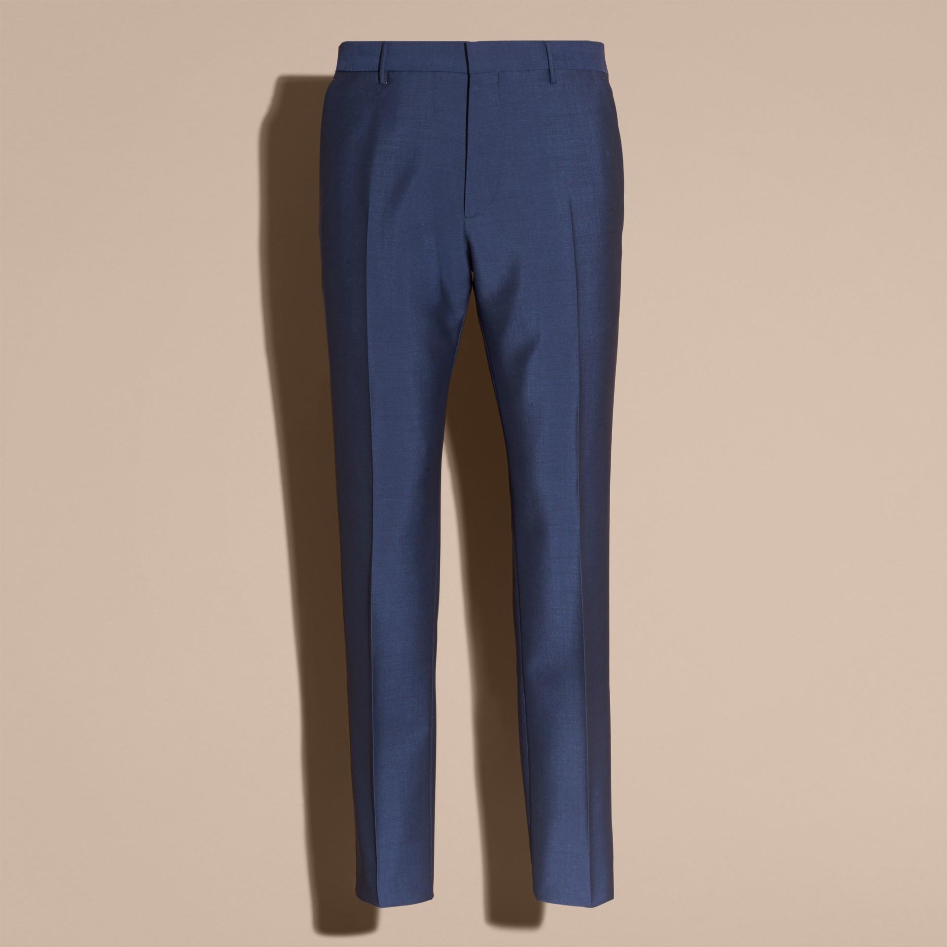 Dark canvas blue Slim Fit Wool Mohair Part-canvas Jacket - gallery image 4