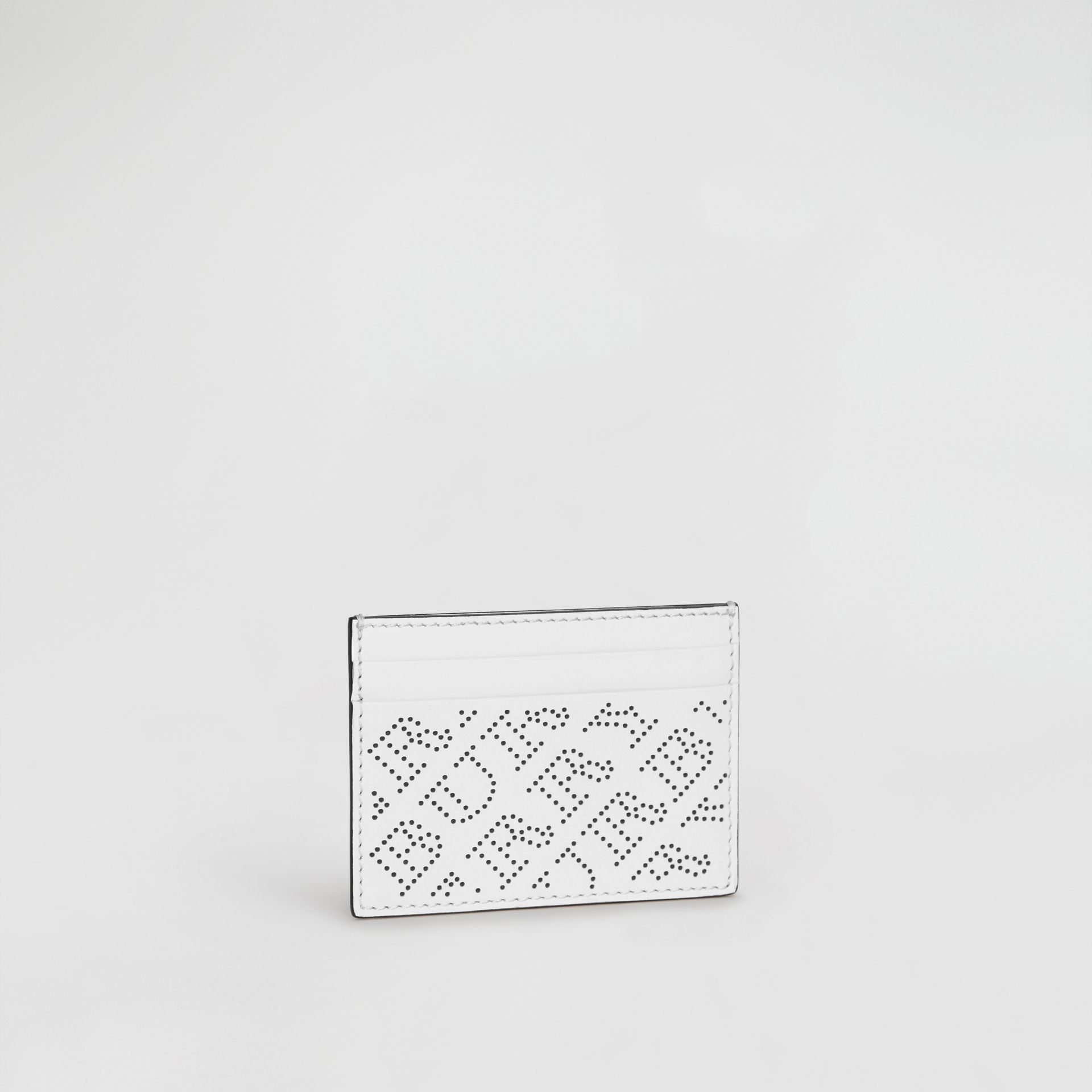 Perforated Logo Leather Card Case in White - Women | Burberry - gallery image 4