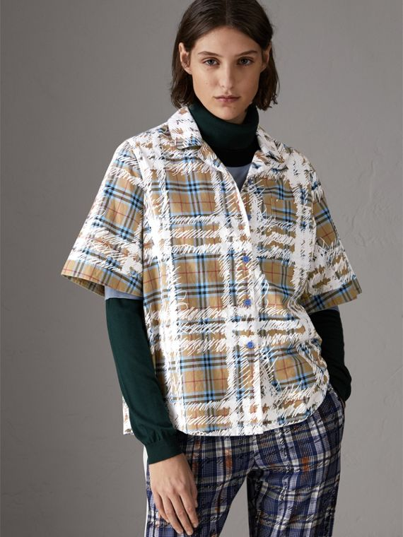 Short-sleeve Scribble Check Cotton Shirt in Bright Mineral Blue