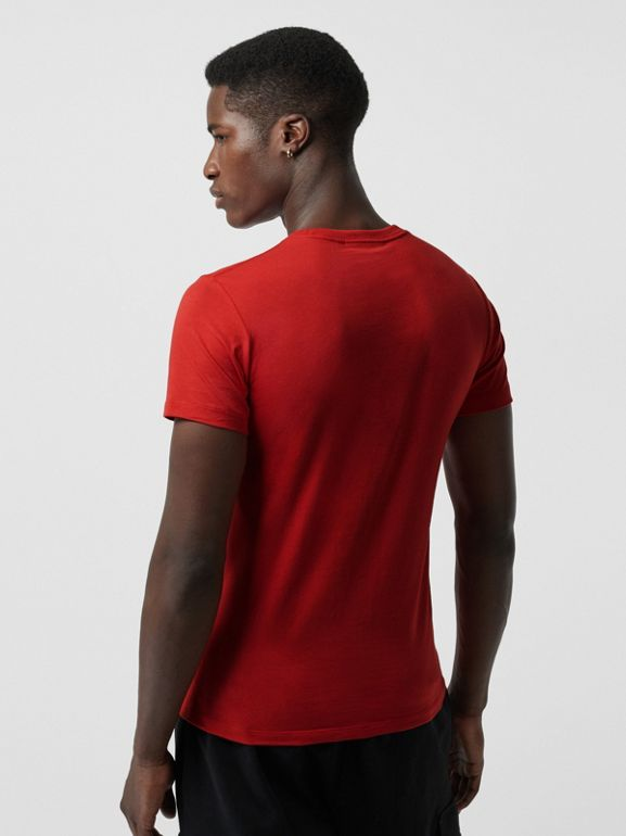 Collage Logo Print Cotton T-shirt in Military Red - Men | Burberry - cell image 1