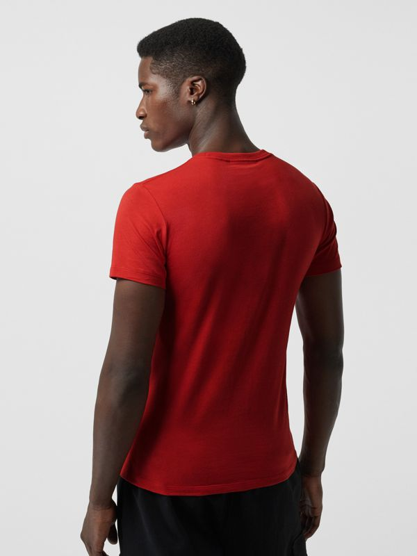 Collage Logo Print Cotton T-shirt in Military Red - Men | Burberry - cell image 2