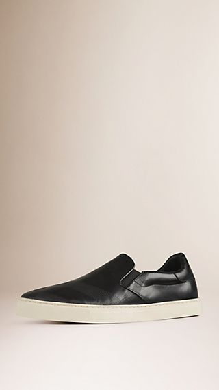 Embossed Check Leather Slip-On Trainers