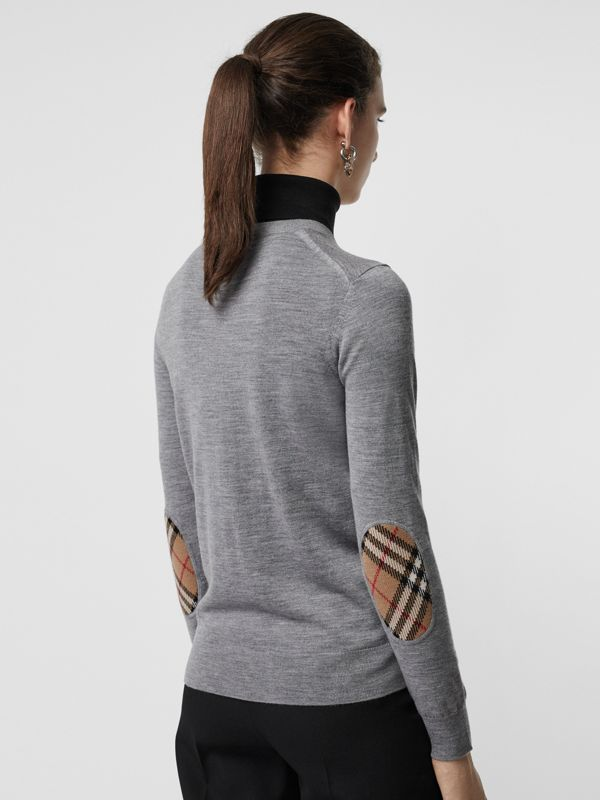Vintage Check Detail Merino Wool Sweater in Grey Melange - Women | Burberry - cell image 2