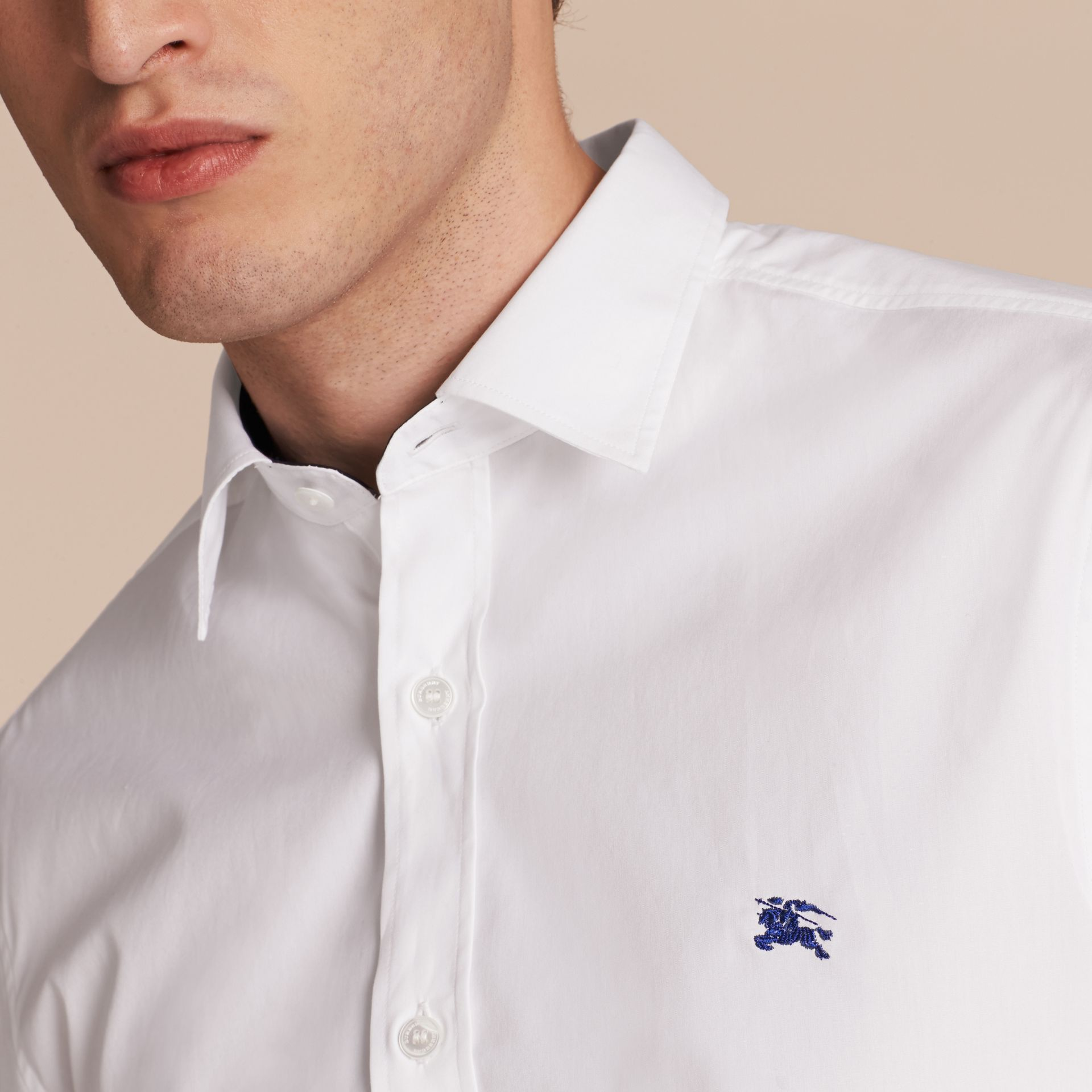 Check Detail Stretch Cotton Shirt White - gallery image 5