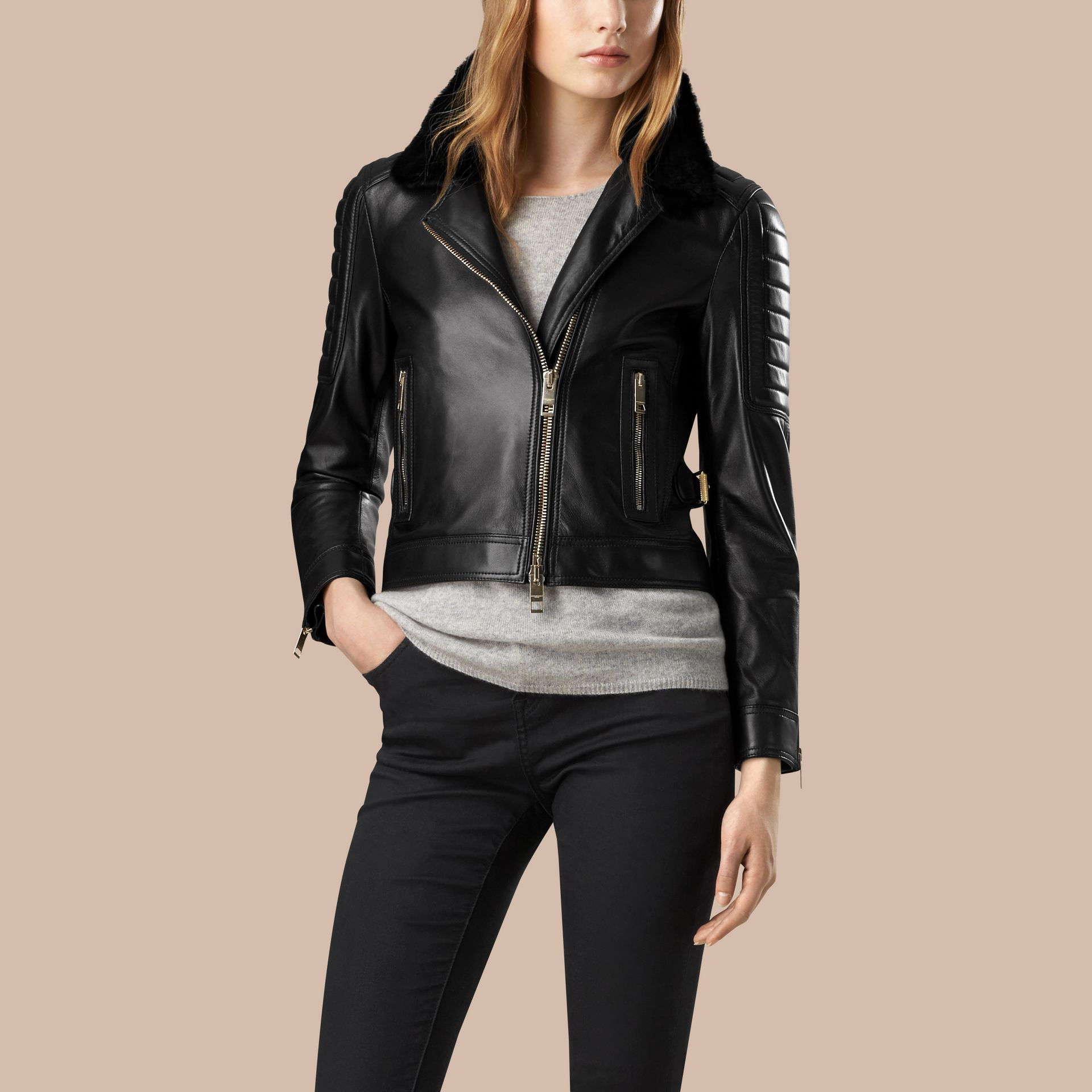 Black Lambskin Biker Jacket with Shearling Topcollar - gallery image 5