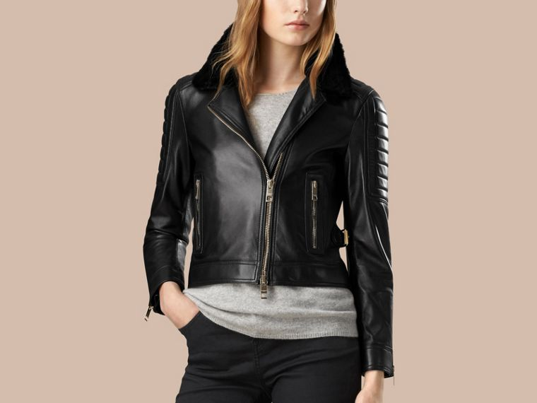 Black Lambskin Biker Jacket with Shearling Topcollar - cell image 4