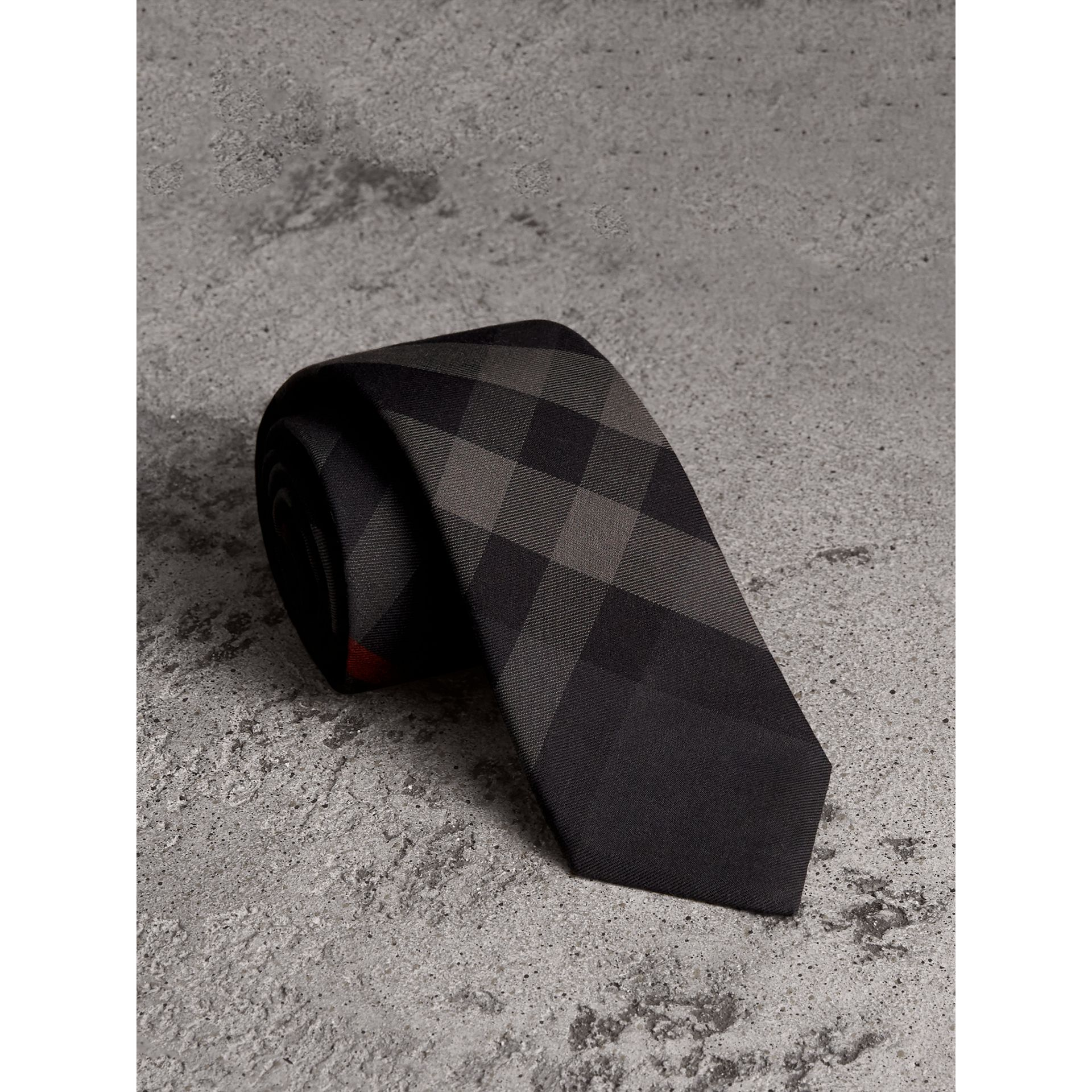 Modern Cut Check Cotton Cashmere Tie in Charcoal - Men | Burberry United States - gallery image 0