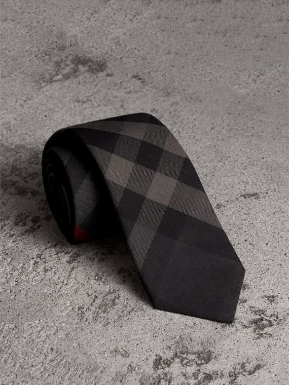 Cravatta dal taglio moderno in cotone e cashmere con motivo tartan (Nero Fumo)