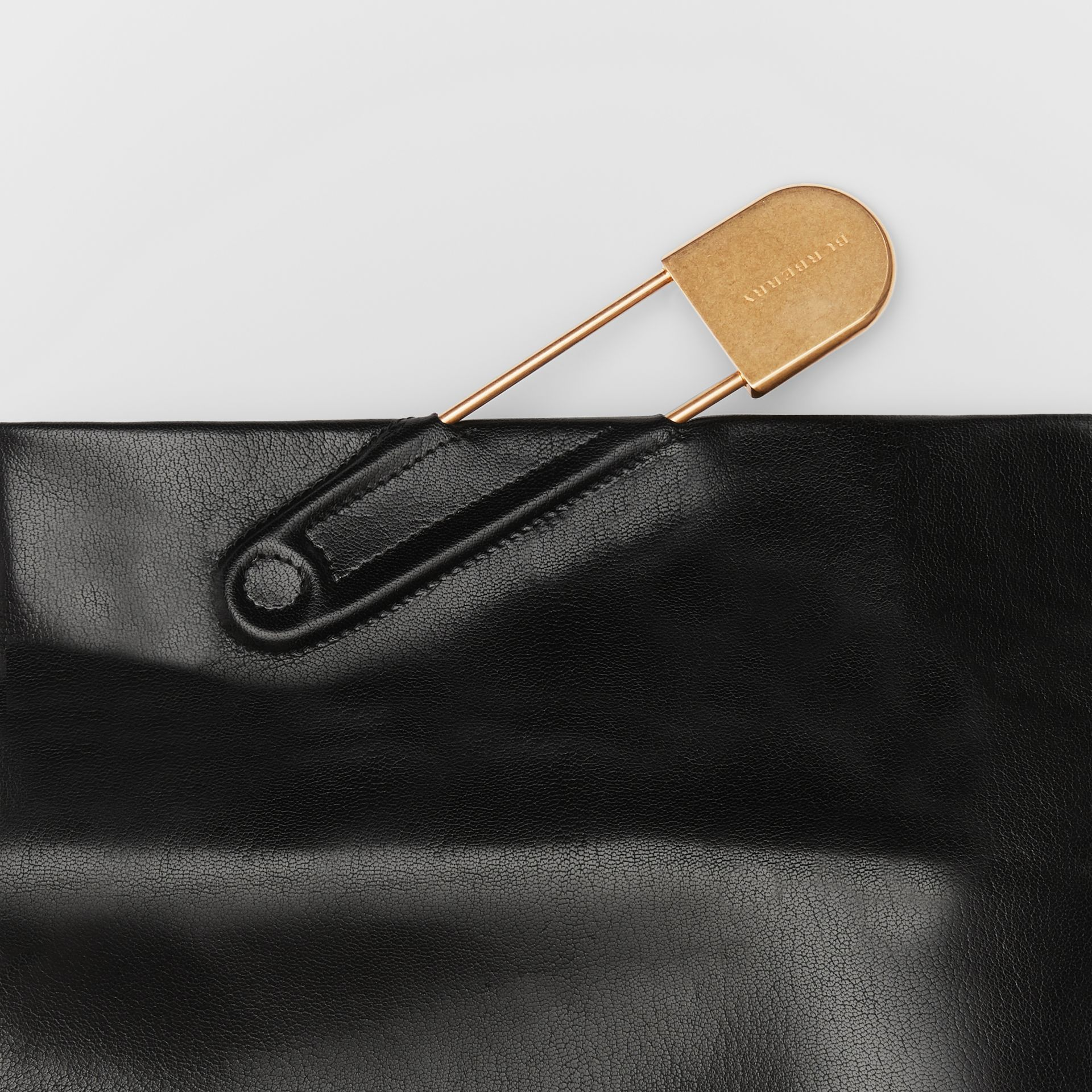 The Medium Patent Leather Pin Clutch in Black - Women | Burberry - gallery image 1